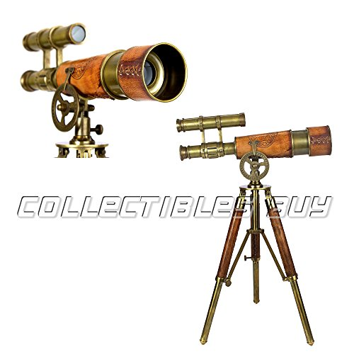 Table Décor Telescope Vintage Marine Gift Functional Instrument Collectibles Gift Item (Brass Antique + Leather) - Brass Leather Table