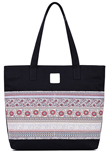 ArcEnCiel Women's Casual Canvas Tote Bags Shoulder Handbag Travel Bag (Black) ()