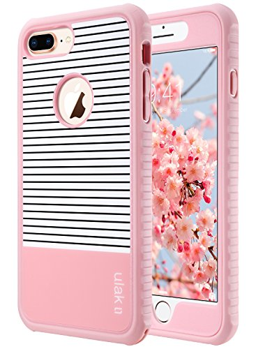 ULAK iPhone 8 Plus Case, Heavy Duty Protection Shockproof Flexible TPU Bumper Case Durable Anti-Slip Lightweight Front Back Hard Protective Grip Cover for iPhone 8 Plus 5.5 inch Rose Gold Minimal ()