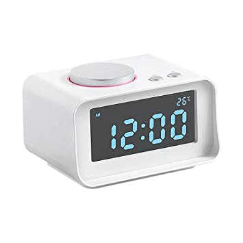 FM Radiodespertador, Despertador Digital con Alarma Dual, AUX / FM Radio, 2 puerto de Cargador USB, con Función Snooze, Termómetro, Indicador LED ...