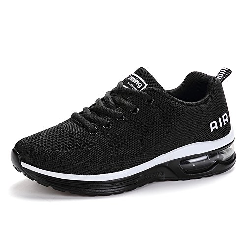 (RomenSi Men's Air Cushion Sport Running Shoes Casual Athletic Tennis Sneakers Blackwhite US8)