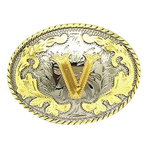 Unisex Adult Alphabet Letter Oval Western Belt Buckle (One Size, Golden(V))