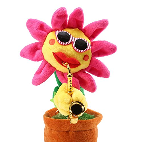 - Aolvo Singing and Dancing Sunflower Enchanting sunglasses Sunflower with Saxophone Soft Plush Funny Creative Electric Toys Stuffed Toy for baby ,Children,kids