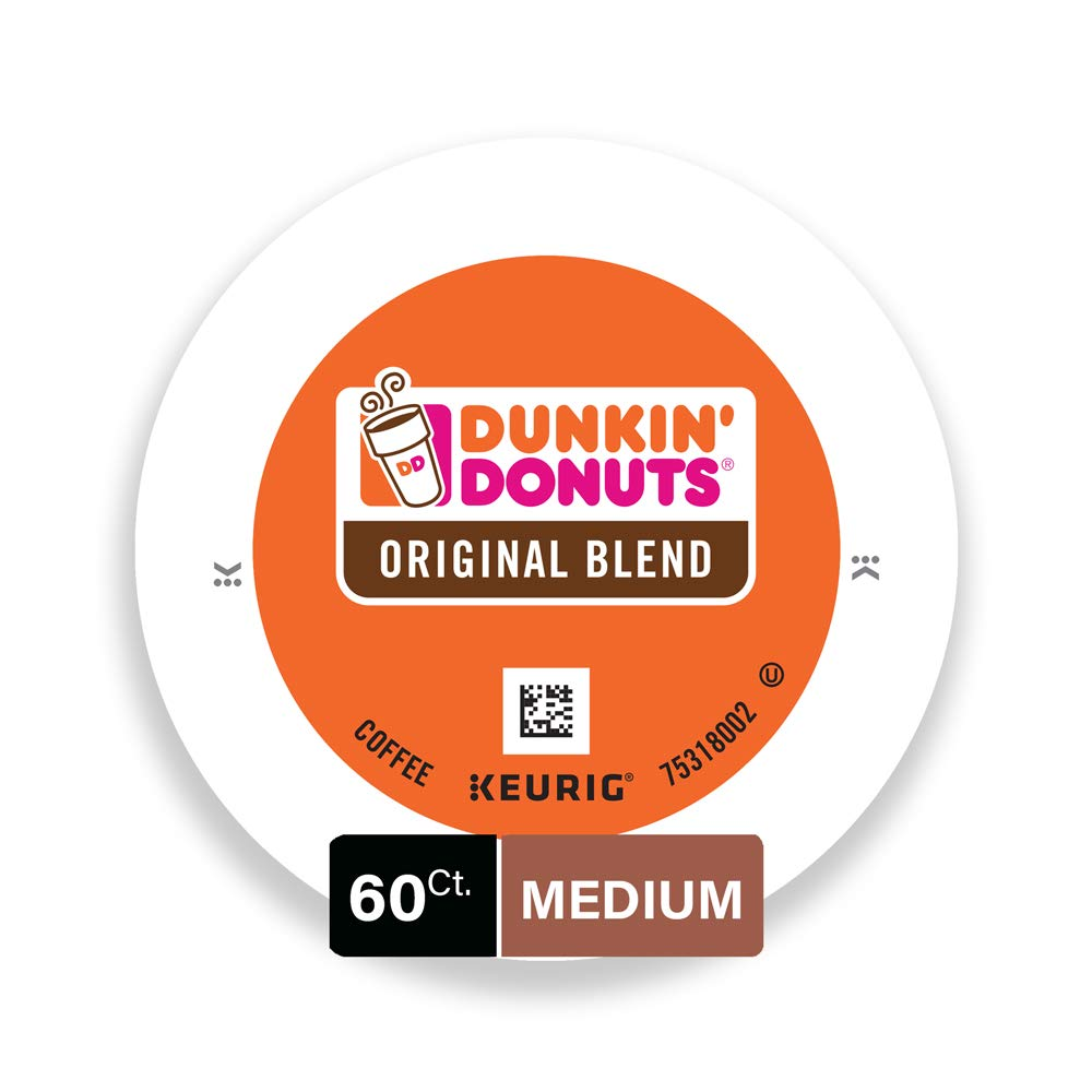 Dunkin' Donuts Original Blend Coffee for K Cup Pods, Medium Roast, For Keurig Brewers, 60Count