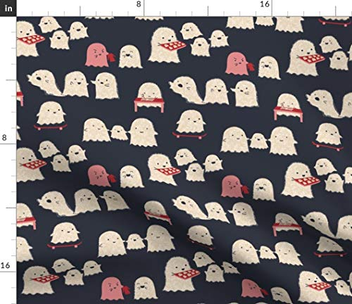 Lil Ghosts Fabric - Ghost Town Skateboard Retro Halloween Black Red White Spooky Cute Kids Sweet Print on Fabric by The Yard - Velvet for Upholstery Home Decor Bottomweight Apparel ()