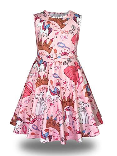 Minilove Gilrs Unicorn Princess Castle Dress(6,Pink) by Minilove