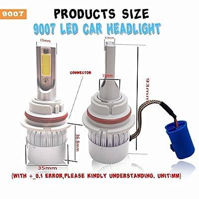 Mega Racer 9007 LED Headlight Bulb CREE COB C6 HB5 9007 LED Headlights LED H7 Headlight Bulbs High Beam Low Beam 6000k Ultra Bright White 80W 8000 Lumens Halogen Replacement 9007 Bulb: Automotive