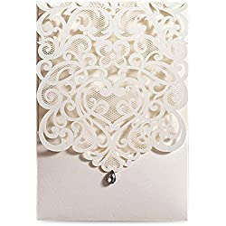 Doris Home 50pcs Vertical Ivory Classic Style Wedding Invitations Cards Custom with Rhinestone & Laser Cut Flower (50),CW5001