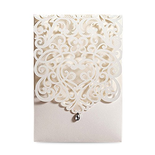 tical Ivory Classic Style Wedding Invitations Cards Custom with Rhinestone & Laser Cut Flower (50),CW5001 ()