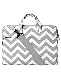 Mosiso Chevron Style Fabric Sleeve Case Cover Bag with Shoulder Strap for 11.6-12.2 Inch MacBook Air, new MacBook Pro with Retina Display, Gray