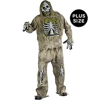 Skeleton Zombie Adult Plus Costume, Plus, Brown