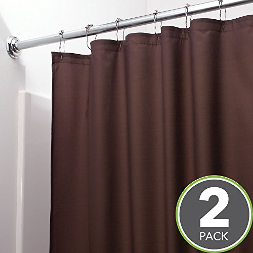 mDesign Water Repellent, Mildew Resistant, Heavy Duty Flat Weave Fabric Shower Curtain or Liner–Weighted Bottom Hem, for Bathroom Shower and Bathtub–72'' x 72'', Pack of 2, Chocolate Brown by mDesign