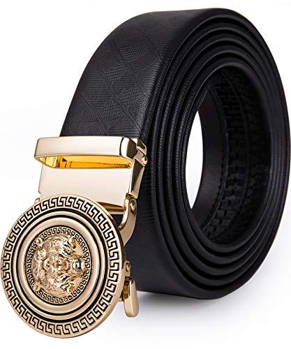 DiBanGu Designer Belts for Men Gold Automatic Buckle Cowhide Sliding Leather Fashion Dress Adjuatable Alloy Trim to Fit