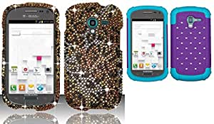 Combo pack For Samsung Galaxy Exhibit T599 (T-Mobile) Full Diamond Design Cover - Cheetah FPD And ASMYNA Purple/Tropical Teal Luxurious Lattice Dazzling TotalDefense Protector Cover for SAMSUNG T599 (Galaxy Exhibit)