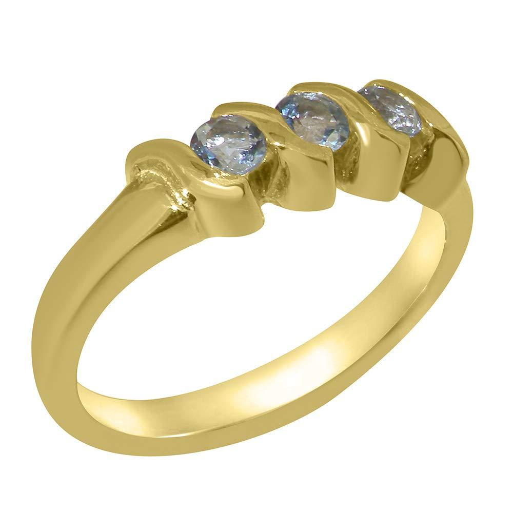 英国製(イギリス製) K14 イエローゴールド 天然 アクアマリン レディース リング 指輪 各種 サイズ あり   B07T1DPHK1