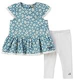 Calvin Klein Baby Girl's Tunic Legging Set Pants, Light Blue Print/White, 6/9M