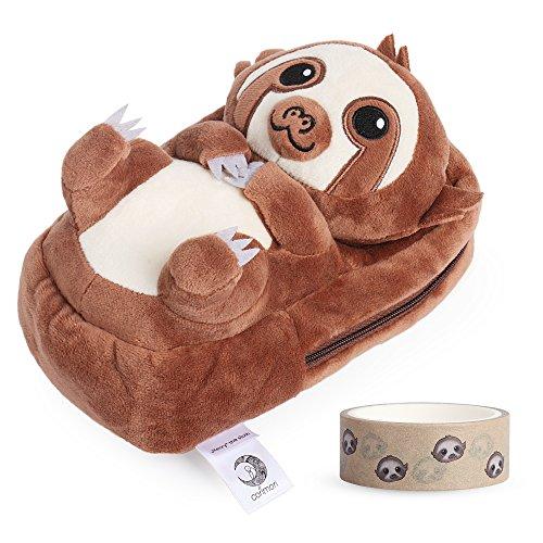 corimori 1845 - Sloth Henry 3D Animal Shaped Fluffy Plush Pencil Case by corimori