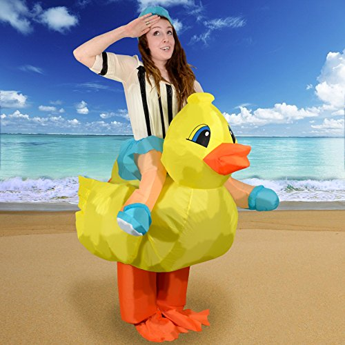 Mens Rubber Duck Costume (Airblown Inflatable Rubber Duckie Duck Racer Adult Costume)