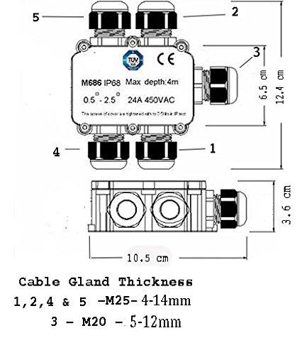 Sucre Auxiliar/® 24A 450V 5 Wege IP68 Wasserdicht Elektrische Kabel Kabelverbinder Abzweigdose