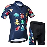 Kids Cycling Jersey Short Set Children Bike Gel Padded Bicycle Short Sleeve Jersey Suit Boys Girls XXL