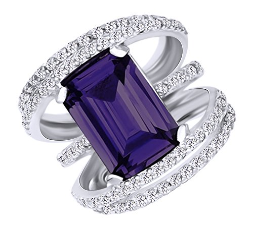 Alexandrite Sterling Silver Designer Ring (Emerald Cut Simulated Alexandrite & Round White Cubic Zirconia Fashion Ring in 14k White Gold Over Sterling Silver Ring Size - 4)