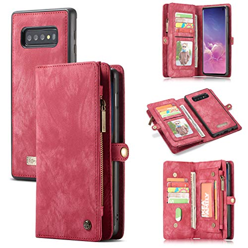 Galaxy S10 /S10 Plus Wallet Case,Zttopo 2 in 1 Leather Zipper Detachable Magnetic 11 Card Slots Card Slots Money Pocket Clutch Cover with Free Screen Protector (Red, Samsung Galaxy S10 Plus)