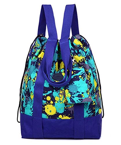 (Women's Large Floral Nylon Travel Totes Sports Gym Bag Multipurpose Drawstring Backpack with Extra Small Pouch (Jungle)