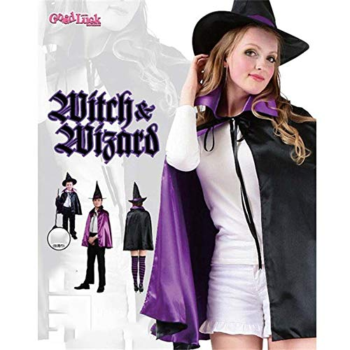 Qukueoy Halloween Witch Costumes Women Cosplay Fairytale Witch Hat Cape 2 Layer Cloth (90cm for Adult) -