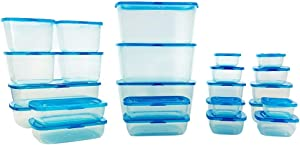 Mr. Lid Premium Attached Storage Containers   Permanently Attached Plastic Lid, Never Lose   Space Saving (25 Piece Starter Set)