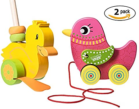 Wooden Toddler Push Along Duck Toy And Pull Along Bird Toy By Dragon Drew (2 Pack)
