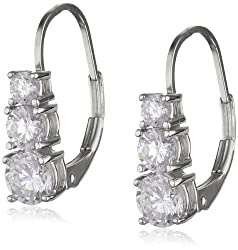 67% off on Platinum Plated Sterling Silver Round Cubic Zirconia Three-Stone Lever Back Earrings