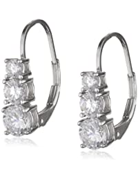 Platinum Plated Sterling Silver Round Cubic Zirconia Three-Stone Lever Back Earrings (1.7 cttw)