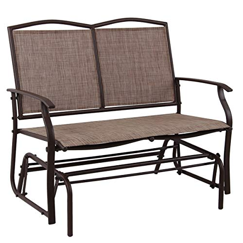 PHI VILLA Patio Swing Glider Bench For 2 Persons Rocking Chair, Garden Loveseat Outdoor Furniture Review