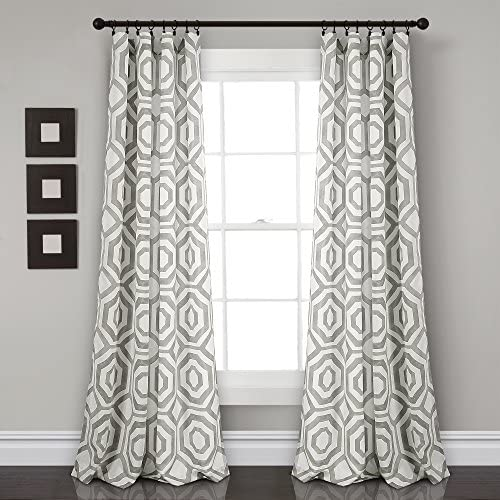 Lush Decor Octagon Block Window Curtain Panel 1 Pair , 84 x 52 , Gray
