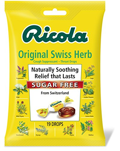 Ricola Sugar Free Original Swiss Herb Natural Cough Suppressant Throat Drops, 19 Drops (Pack of 12), Fights Coughs Naturally, Soothes - 75 Lozenges Honey