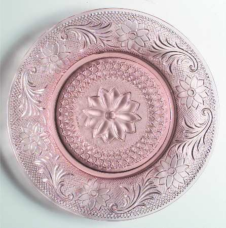 Tiara Exclusive Pink Sandwich Glass Luncheon Plate - Indiana Glass - 8.5 (Indiana Glass Glass Plates)