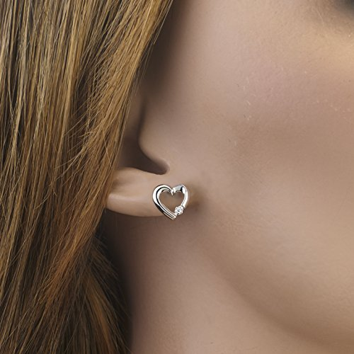 Diamond Accent Heart Earrings in 10K White Gold