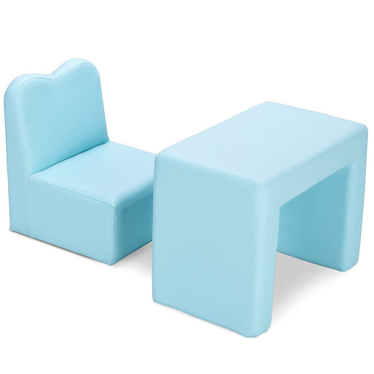 calidad garantizada COSTWAY 2 en en en 1 Mesa de Niños Silla para Infantil Muebles Set Suave Seguro Color Azul  tienda en linea