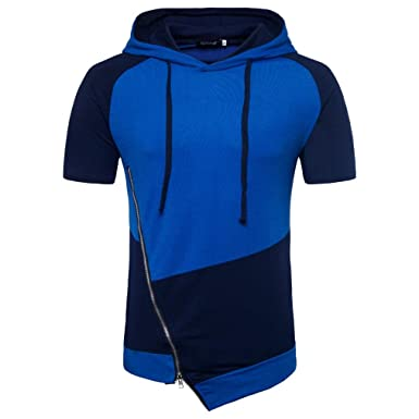 b3a788f8 BSGSH Short Sleeve Pullover Hoodie for Men Workout Gym Sports Color Block  Hooded T-Shirt with Zip Details at Amazon Men's Clothing store: