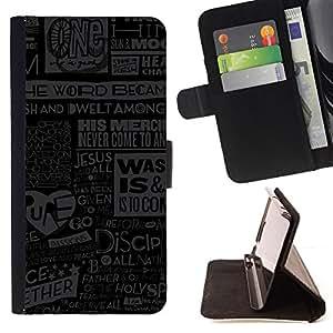 BullDog Case - FOR/Samsung Galaxy Note 4 IV / - / jesus god quote newspapepr poster art /- Monedero de cuero de la PU Llevar cubierta de la caja con el ID Credit Card Slots Flip funda de cuer