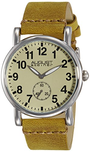 August Steiner Women's AS8110BR Swiss Quartz Silver-tone Brown Leather Strap Watch