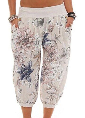 Pantaloni corti da donna Pantaloni Harem Pantaloni stampati a fantasia Aladdin Beach Pantaloni rigonfio a 3/4 Beige