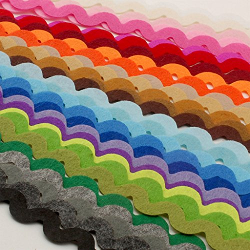 - Summer-Ray 90pcs (28.5 yrds in total) Mixed Colors Felt Ric Rac Ribbons