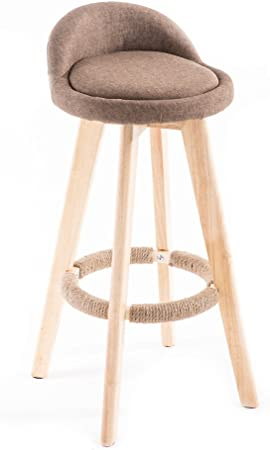 Amazon Com Wood Rotation Bar Stools Retro Bar Chair Breakfast Stools Swivel Kitchen Chair Cotton Linen Seat With Backrest B Furniture Decor