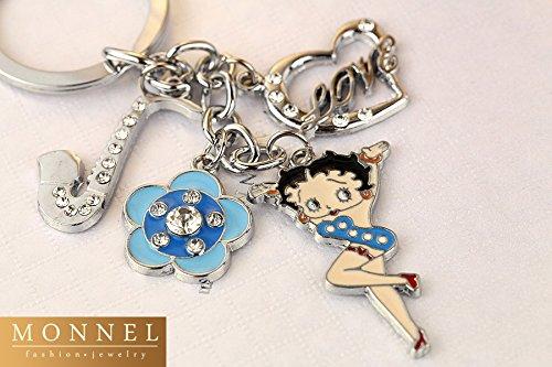 Z379b Best Selling Cute Blue Style Betty Boop Heart Love Flower Saxophone Metal Keychain