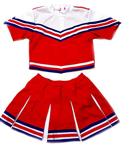 Girls' Cheerleader Cheerleading Outfit Uniform Costume Cosplay sleeves Red/White/Blue (S / 2-5)
