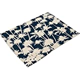 ChezMax Rectangle Tropical Coconut Tree Print Oil Painted Linen Western Food Mat Bowl Cup Placemat
