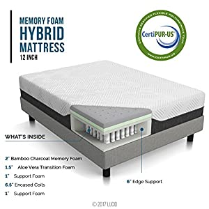 LUCID 12 Inch Twin XL Hybrid Mattress – Bamboo Charcoal and Aloe Vera Infused Memory Foam – Motion Isolating Springs…