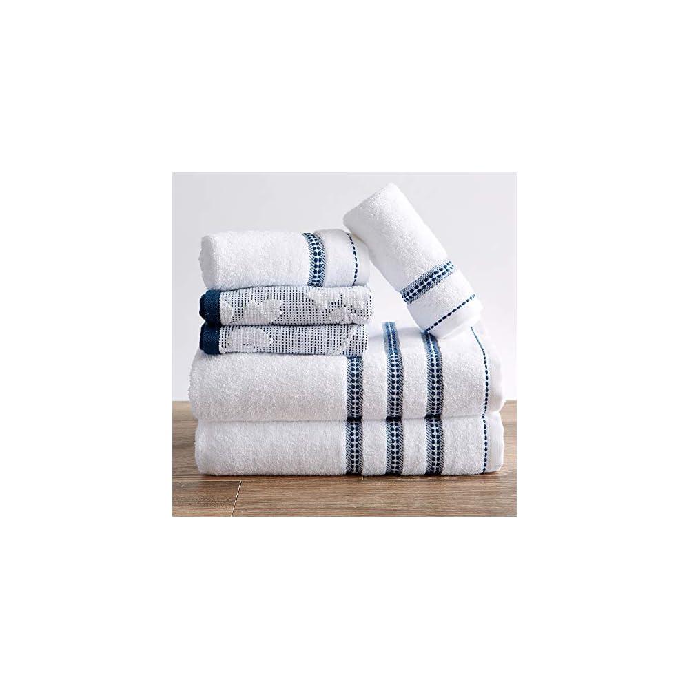100% Cotton Floral Jacquard Bath Towels, Luxury 6 Piece Set - 2 Bath Towels, 2 Hand Towels and 2 Washcloths. Absorbent…