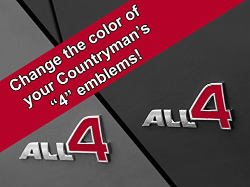 All 4 Emblem Vinyl Decal Inserts for MINI Cooper Countryman, Paceman, and Clubman - Choose Color - [RED]